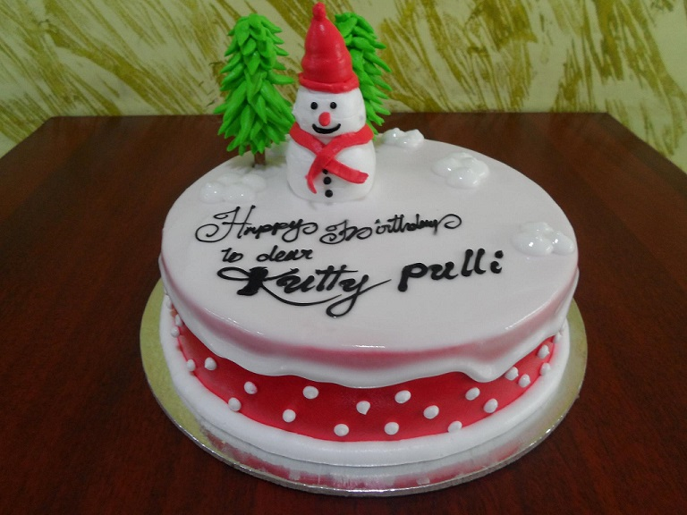 snowman white forest cake