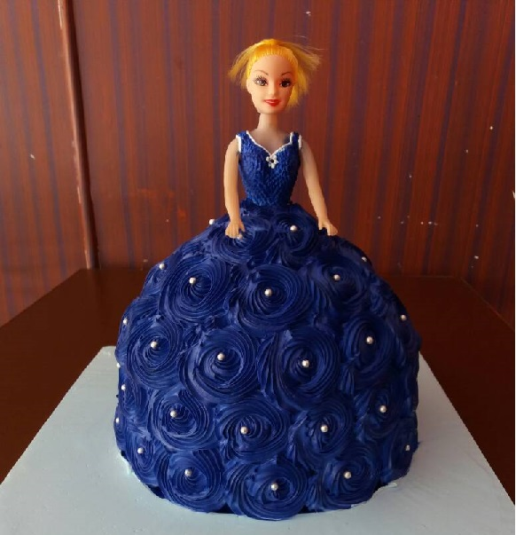 Purple Barbie Doll Themed Cake